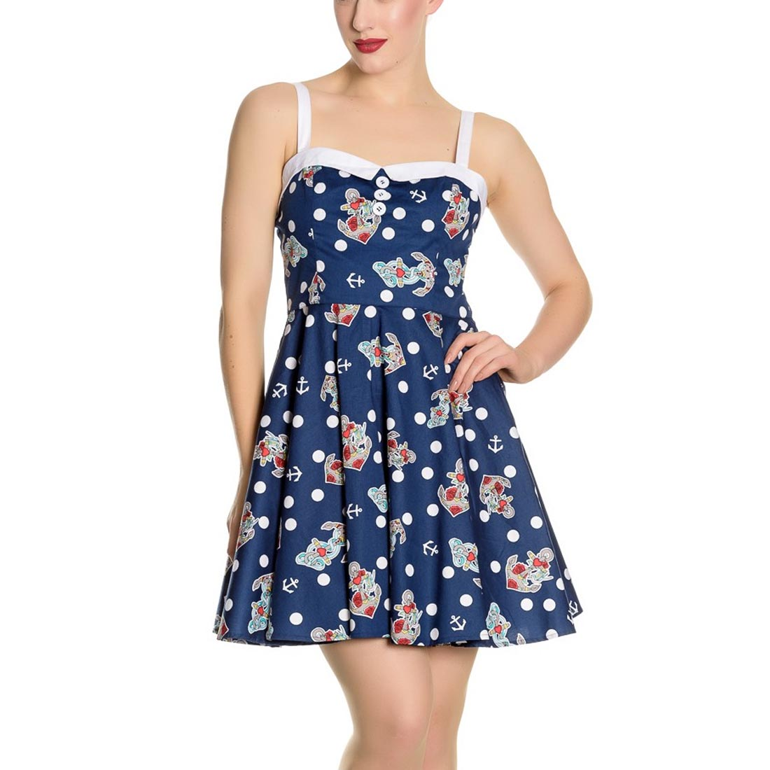 Hell-Bunny-Navy-Blue-50s-Nautical-Mini-Dress-OCEANA-Polka-Dot-All-Sizes thumbnail 3