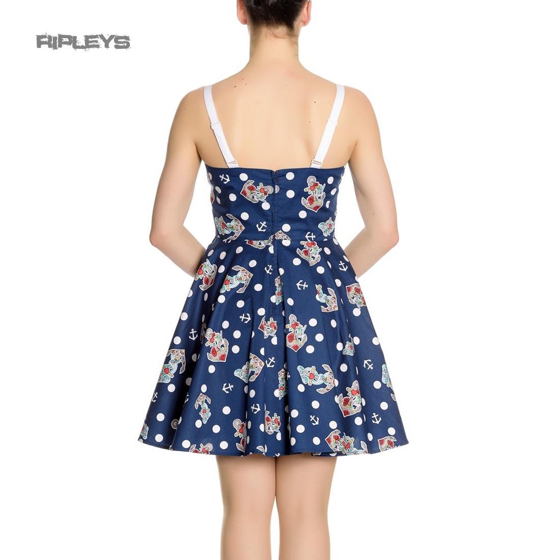 Hell-Bunny-Navy-Blue-50s-Nautical-Mini-Dress-OCEANA-Polka-Dot-All-Sizes thumbnail 16