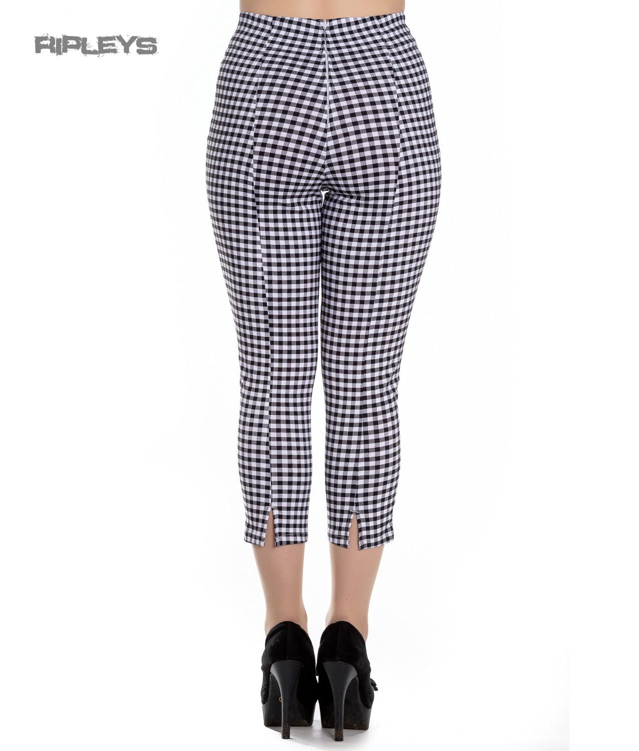 48bd486873ad Sentinel Hell Bunny Vintage 50s White/Black Gingham JUDY Capris Capri  Trousers All Sizes