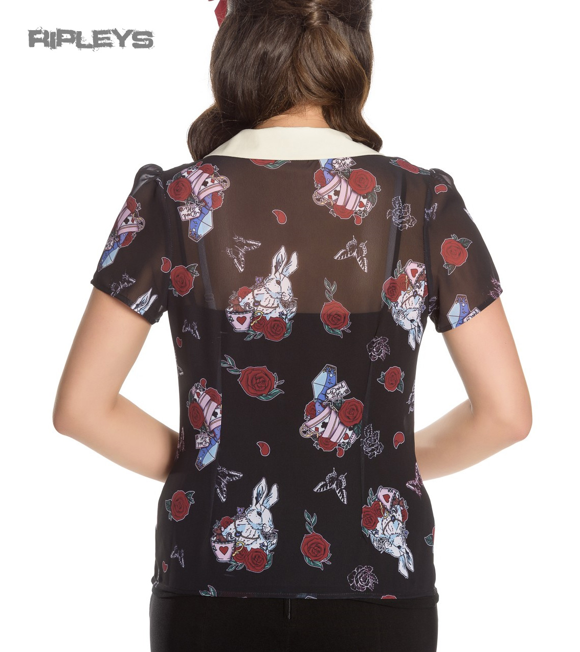 Hell-Bunny-Shirt-Top-Alice-in-Wonderland-Blouse-DRINK-ME-Roses-All-Sizes thumbnail 4