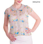 Hell Bunny Shirt 50s Top Floral Flowers ROSLYN Grey Chiffon Blouse All Sizes Thumbnail 1