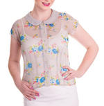 Hell Bunny Shirt 50s Top Floral Flowers ROSLYN Grey Chiffon Blouse All Sizes Thumbnail 2