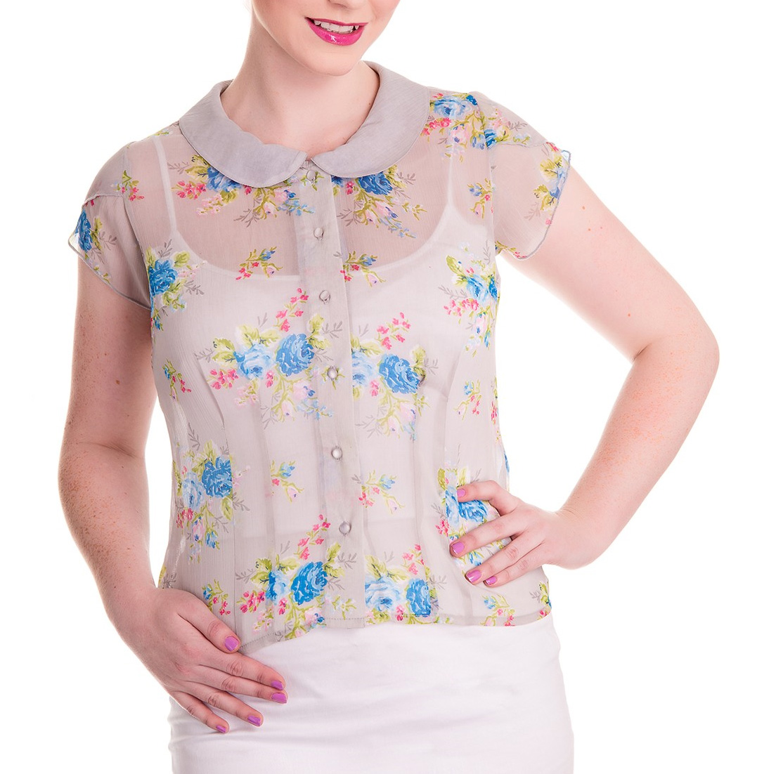 Hell-Bunny-Shirt-50s-Top-Floral-Flowers-ROSLYN-Grey-Chiffon-Blouse-All-Sizes thumbnail 5