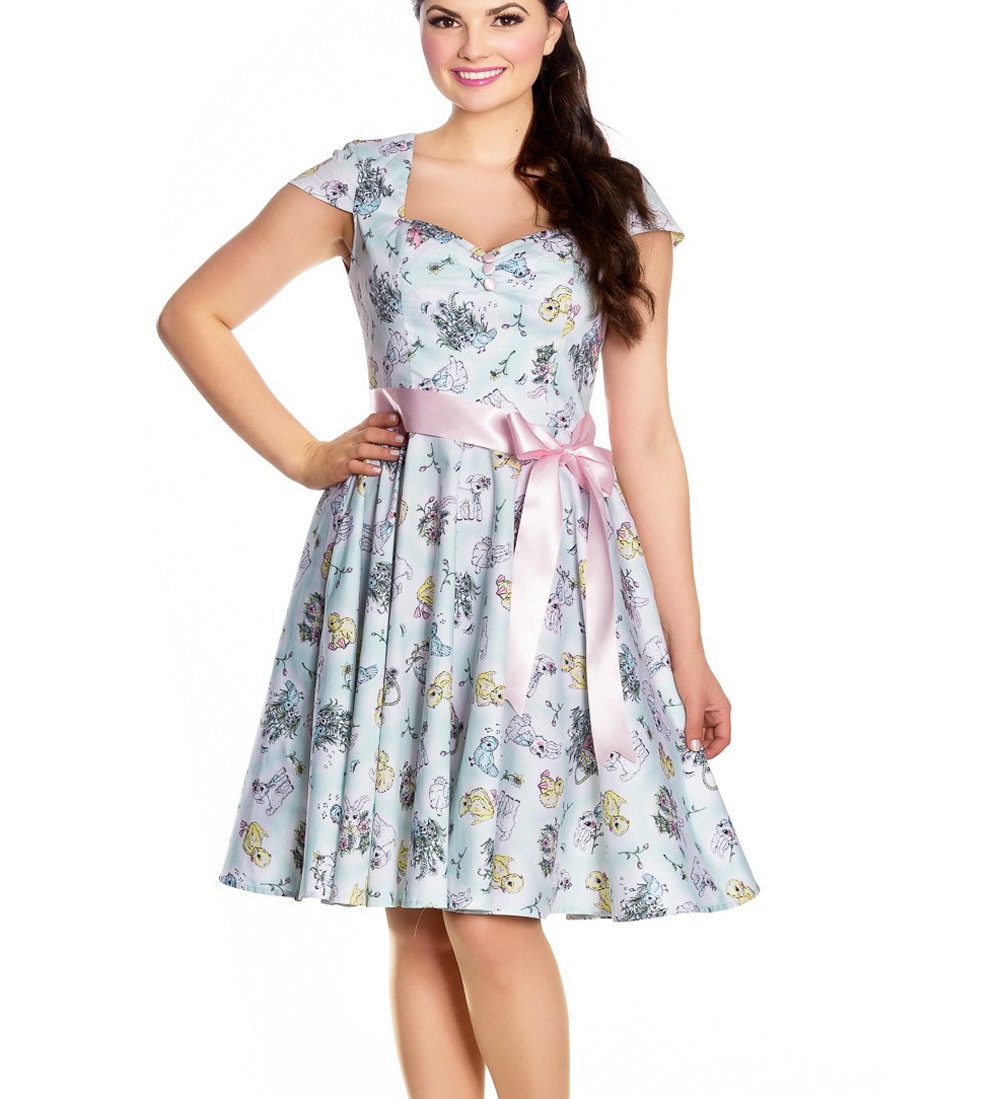 Hell-Bunny-Pin-Up-Blue-Mid-Length-50s-Dress-BUNNY-Spring-Easter-Bow-All-Sizes thumbnail 3