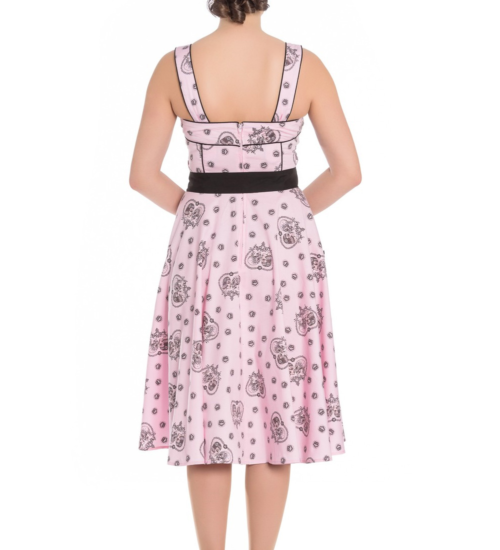 Hell-Bunny-Pinup-Alchemy-KEEPSAKE-50s-Dress-Pastel-Pink-Skull-Hearts-All-Sizes thumbnail 7