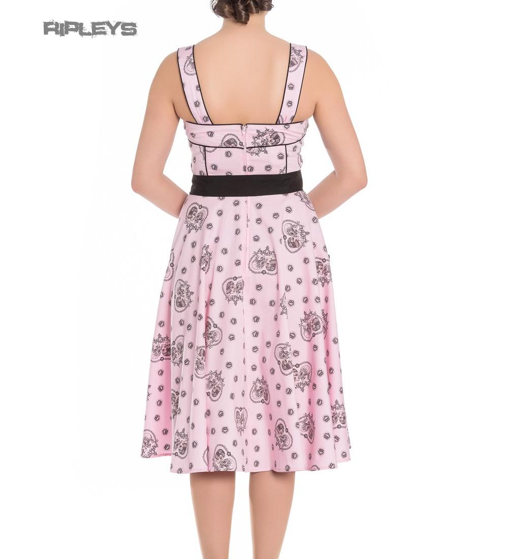 Hell-Bunny-Pinup-Alchemy-KEEPSAKE-50s-Dress-Pastel-Pink-Skull-Hearts-All-Sizes thumbnail 6