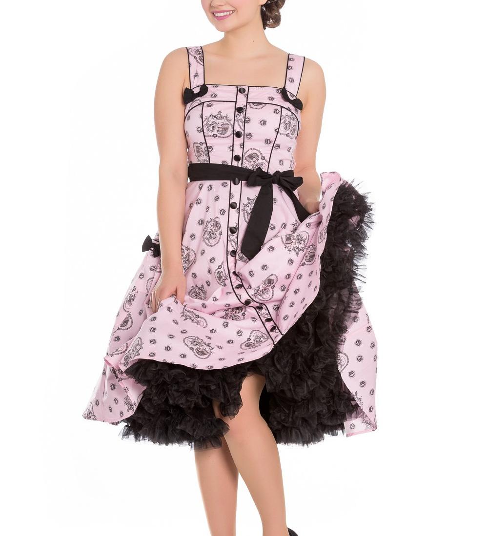Hell-Bunny-Pinup-Alchemy-KEEPSAKE-50s-Dress-Pastel-Pink-Skull-Hearts-All-Sizes thumbnail 3