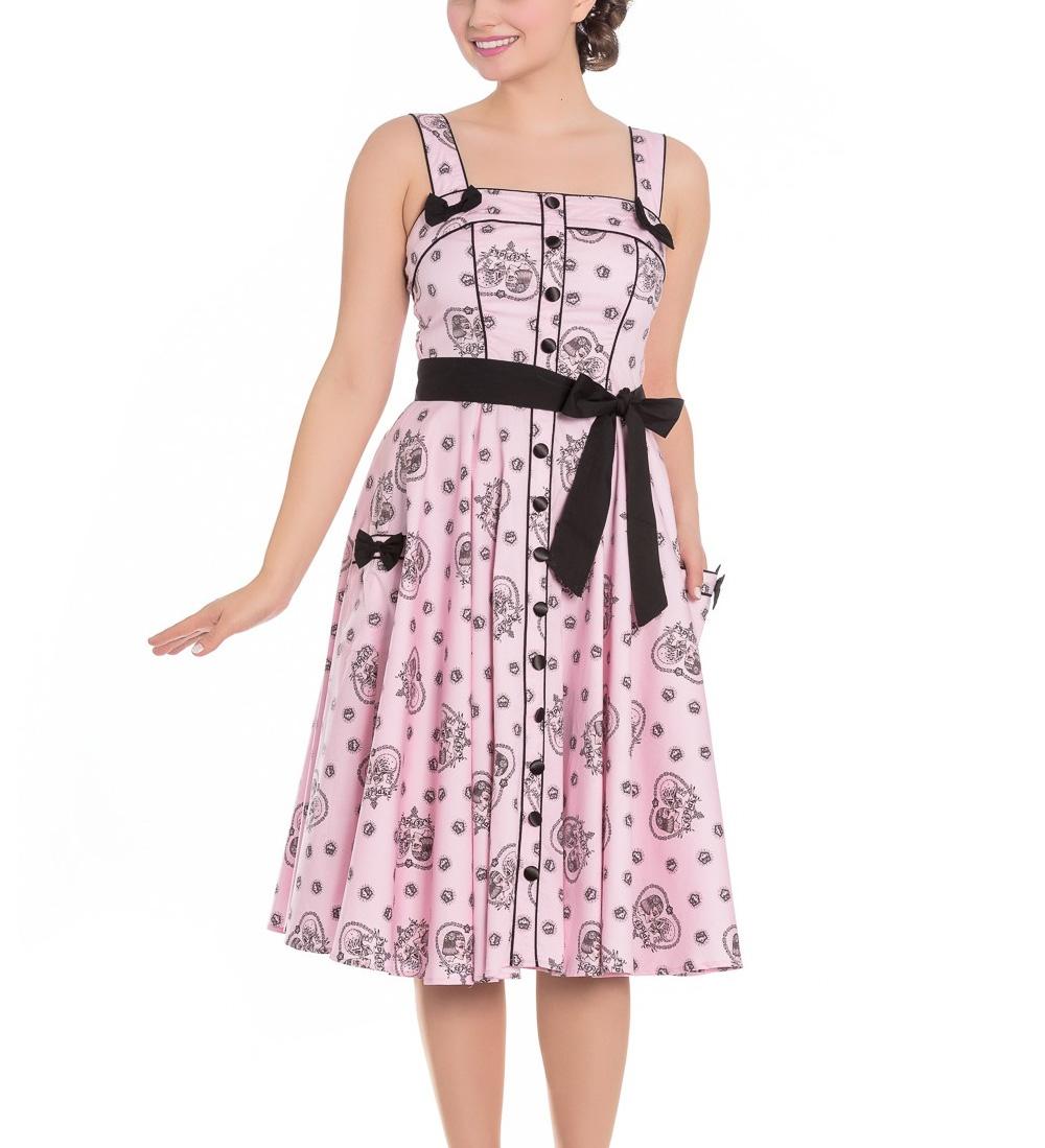 Hell-Bunny-Pinup-Alchemy-KEEPSAKE-50s-Dress-Pastel-Pink-Skull-Hearts-All-Sizes thumbnail 5