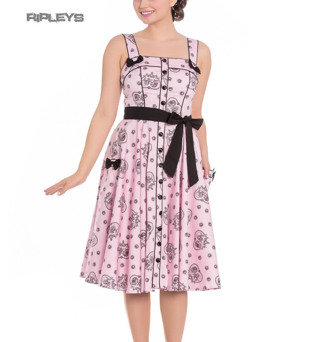 Hell-Bunny-Pinup-Alchemy-KEEPSAKE-50s-Dress-Pastel-Pink-Skull-Hearts-All-Sizes thumbnail 4