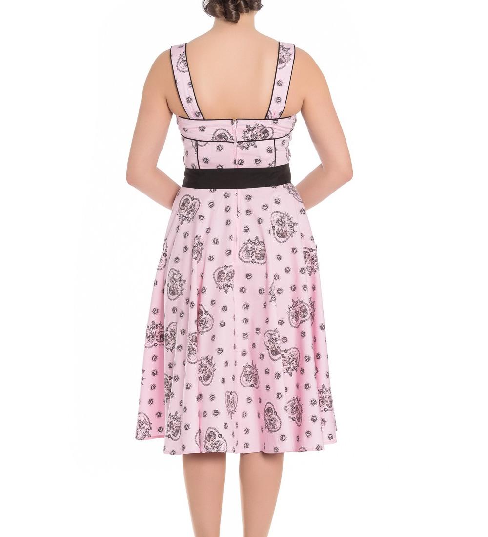 Hell-Bunny-Pinup-Alchemy-KEEPSAKE-50s-Dress-Pastel-Pink-Skull-Hearts-All-Sizes thumbnail 19