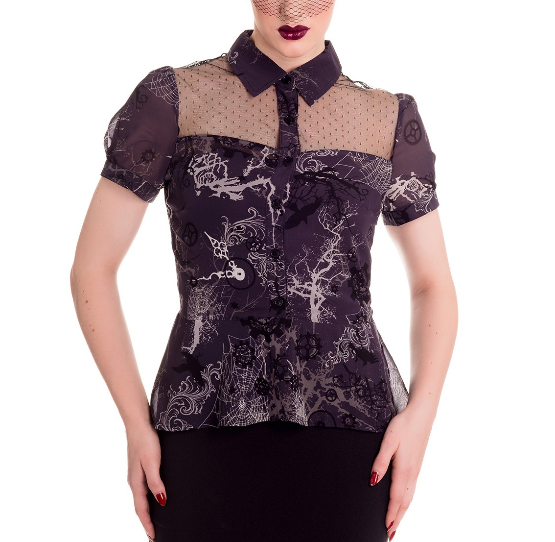 Hell-Bunny-Spin-Doctor-Steampunk-Goth-Shirt-Top-ALTAIRA-Blouse-All-Sizes thumbnail 7