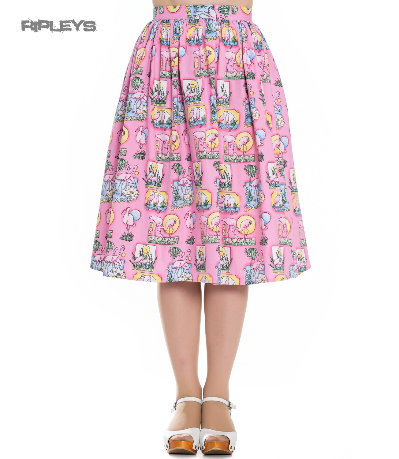 44718ce9b Sentinel Hell Bunny Vintage Pin Up Rockabilly 50s Skirt MAXINE Pink  Flamingos All Sizes