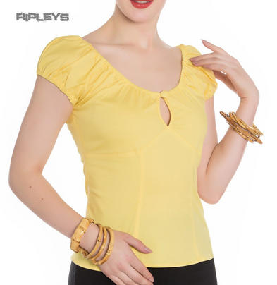 Hell Bunny Shirt Gypsy Top MELISSA 50s Plain  Summer Yellow All Sizes Preview