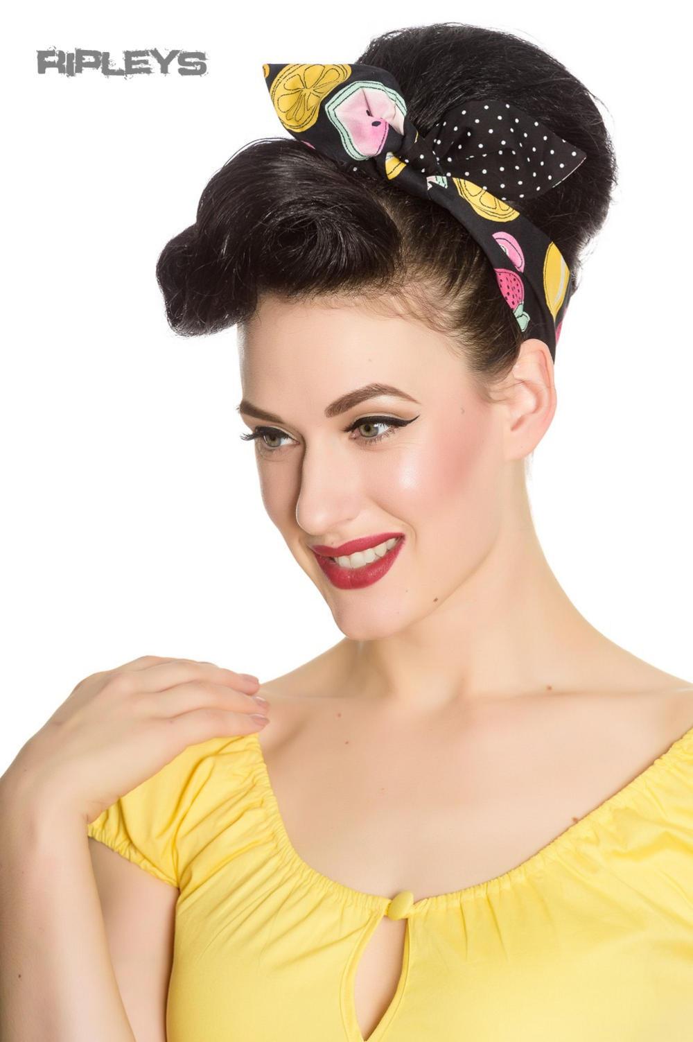 8f17422163261 Hell Bunny Retro 50s Hair Tie TUTTI FRUTTI Polka Dot Rockabilly Fruits