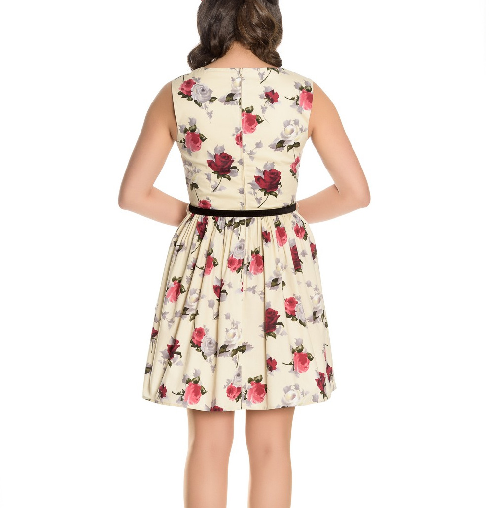 Hell-Bunny-50s-Vintage-CECILY-Cream-Mini-Skater-Dress-Roses-Flowers-All-Sizes thumbnail 5