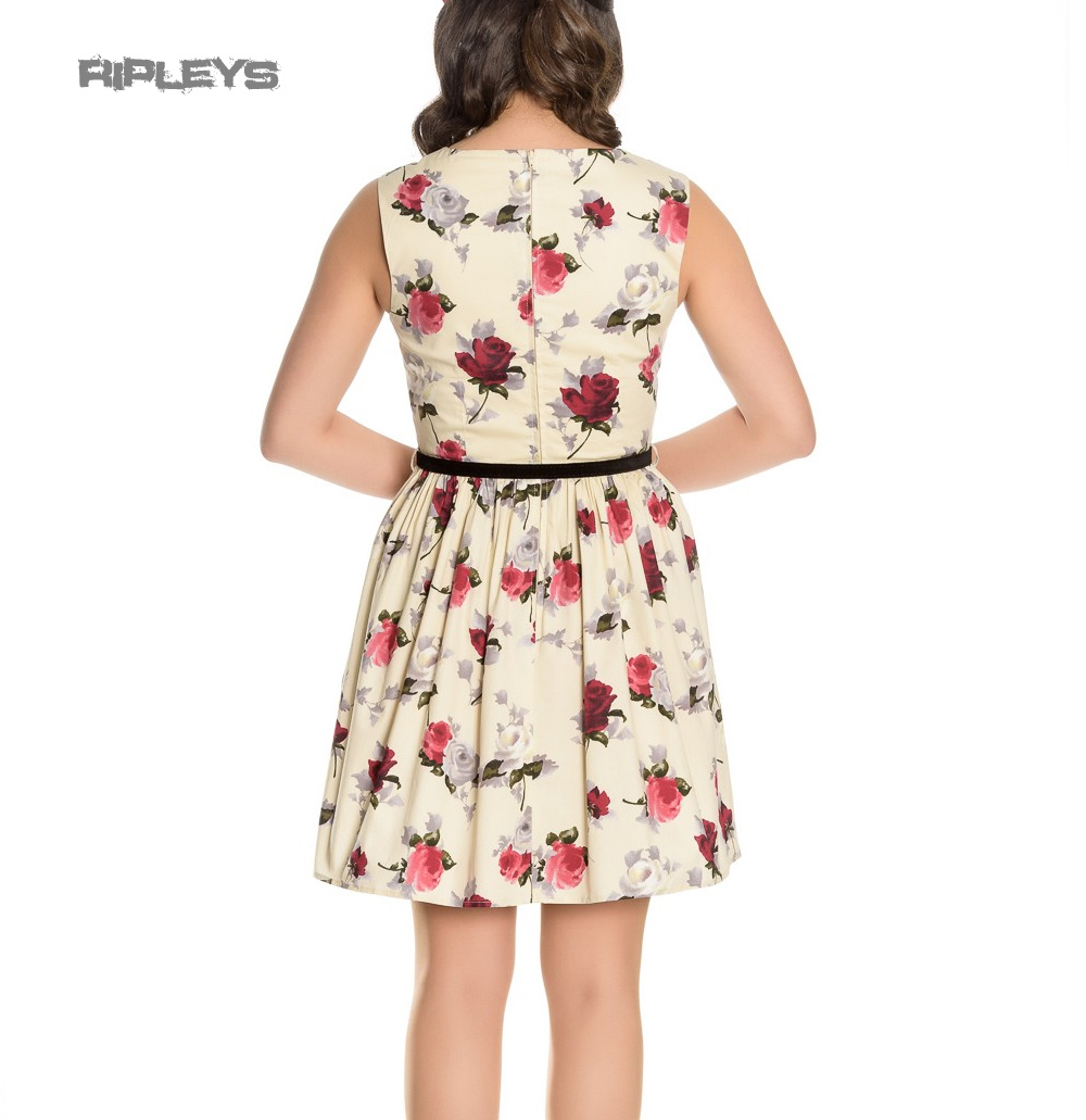 Hell-Bunny-50s-Vintage-CECILY-Cream-Mini-Skater-Dress-Roses-Flowers-All-Sizes thumbnail 4