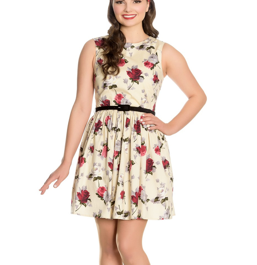 Hell-Bunny-50s-Vintage-CECILY-Cream-Mini-Skater-Dress-Roses-Flowers-All-Sizes thumbnail 3