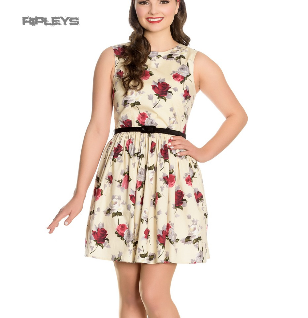 Hell-Bunny-50s-Vintage-CECILY-Cream-Mini-Skater-Dress-Roses-Flowers-All-Sizes thumbnail 2