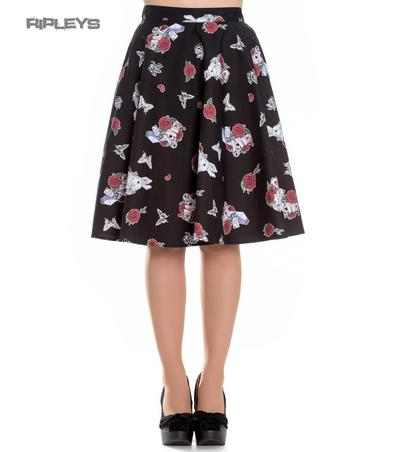 Hell Bunny Pin Up Alice in Wonderland 50s Skirt DRINK ME Rose Rabbit All Sizes