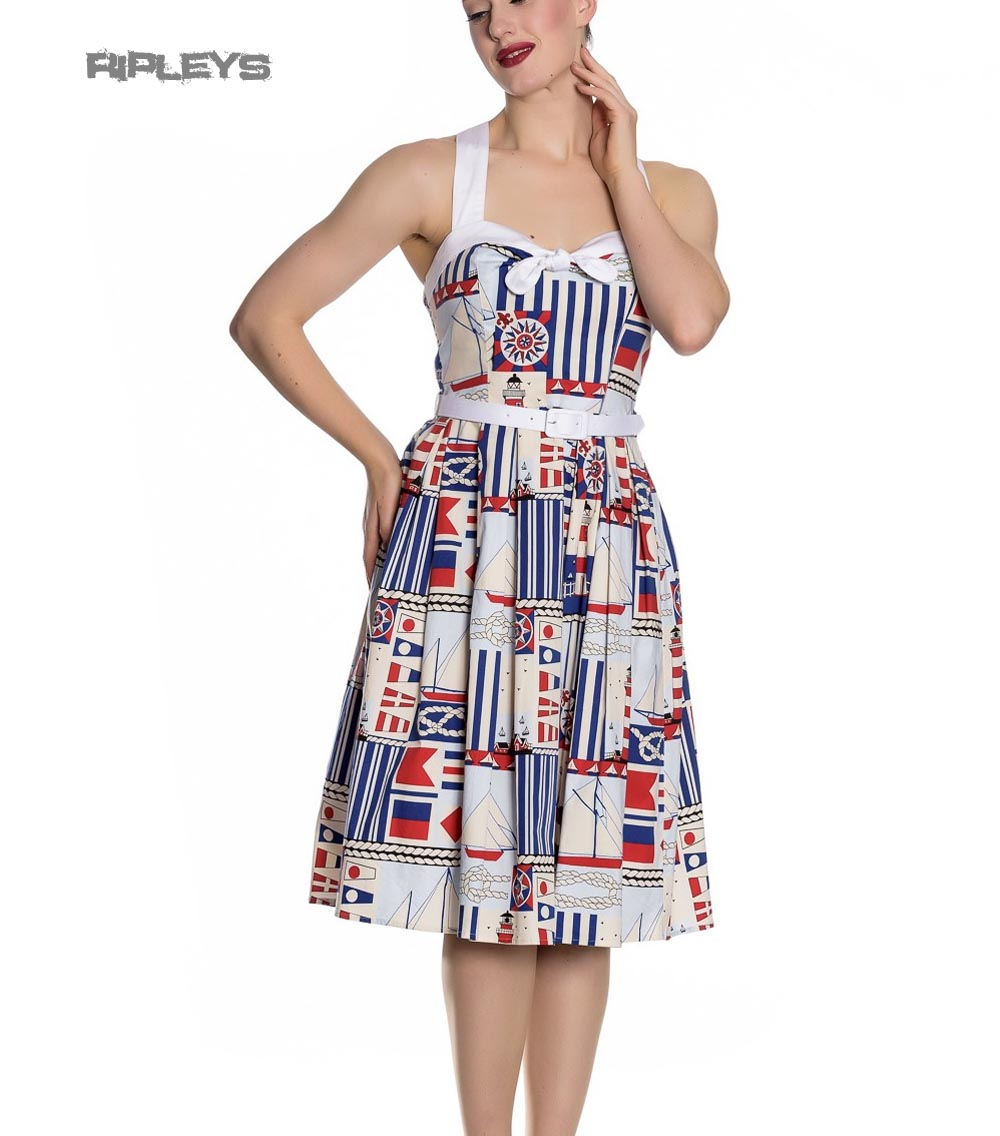 Hell Bunny White Blue 50s Pin Up Dress LIGHTHOUSE Sailor Nautical ...