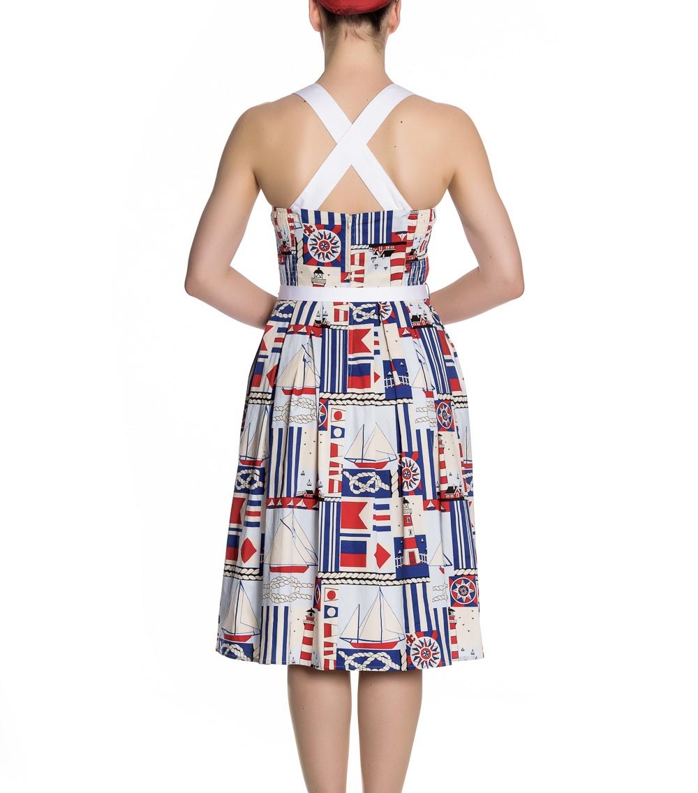 Hell-Bunny-White-Blue-50s-Pin-Up-Dress-LIGHTHOUSE-Sailor-Nautical-All-Sizes thumbnail 5
