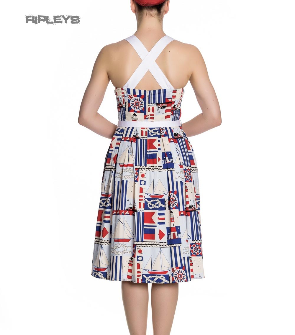 Hell-Bunny-White-Blue-50s-Pin-Up-Dress-LIGHTHOUSE-Sailor-Nautical-All-Sizes thumbnail 4