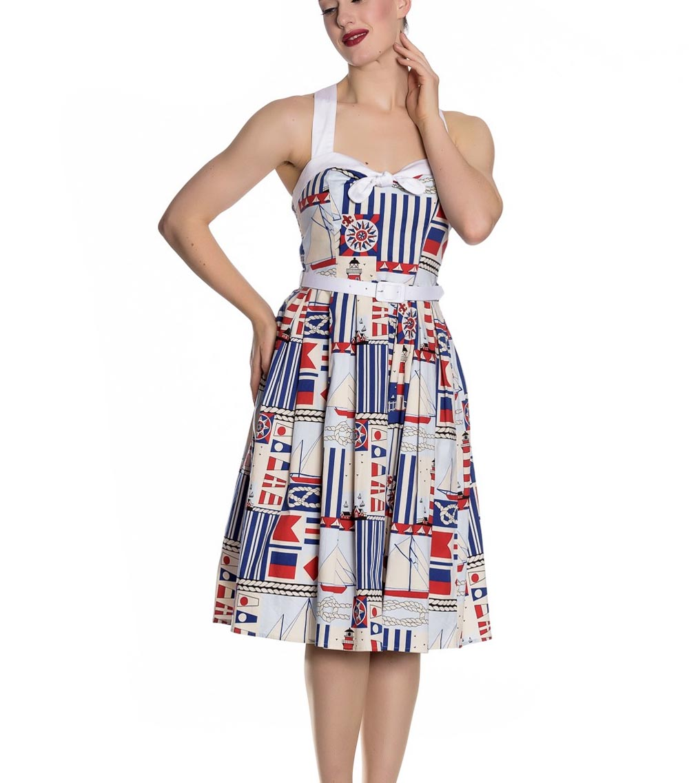 Hell-Bunny-White-Blue-50s-Pin-Up-Dress-LIGHTHOUSE-Sailor-Nautical-All-Sizes thumbnail 3