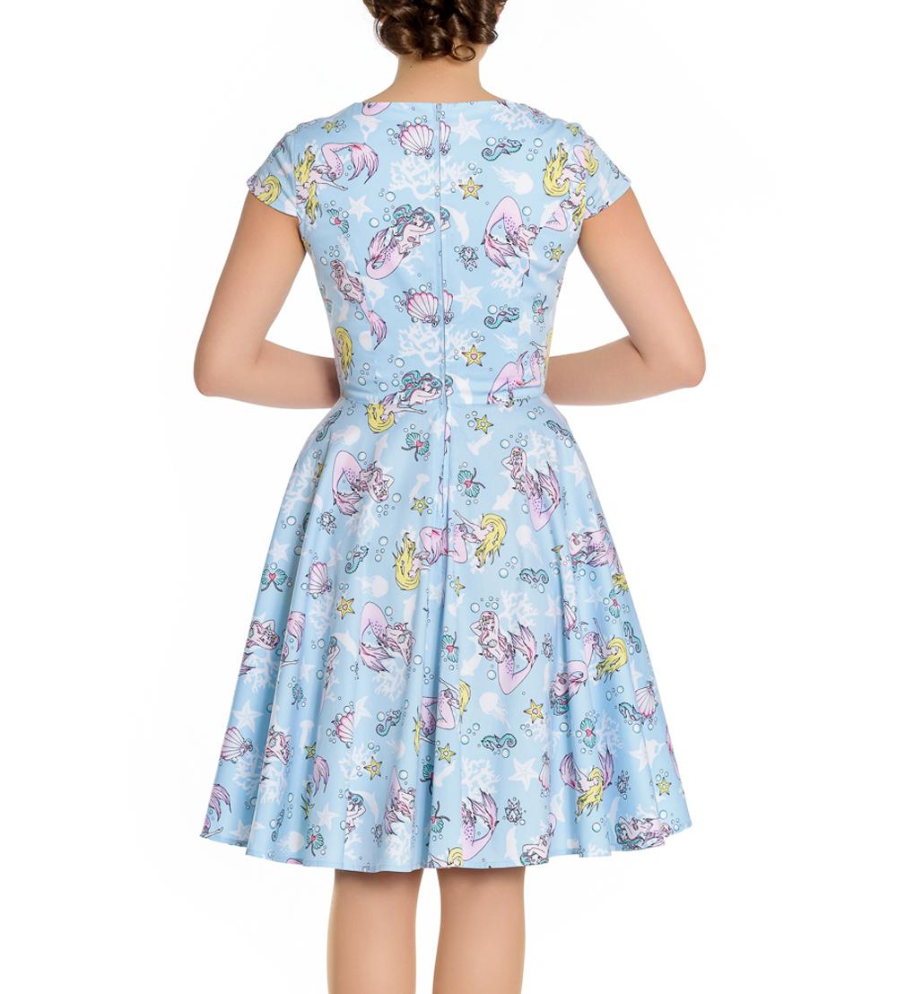 Hell-Bunny-Pin-Up-Blue-Mid-Length-50s-Dress-CORALIA-Andrina-Mermaid-All-Sizes thumbnail 11
