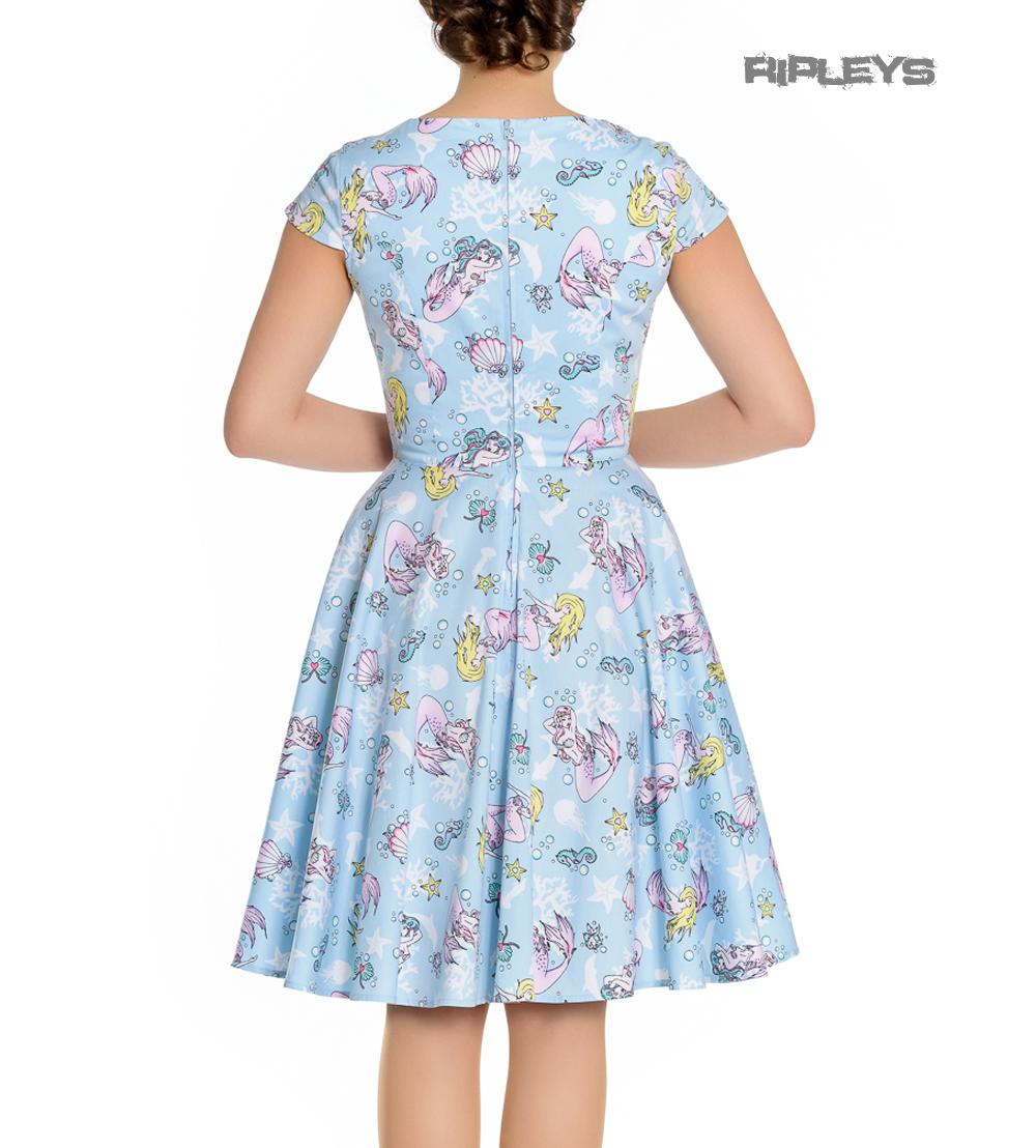 Hell-Bunny-Pin-Up-Blue-Mid-Length-50s-Dress-CORALIA-Andrina-Mermaid-All-Sizes thumbnail 4