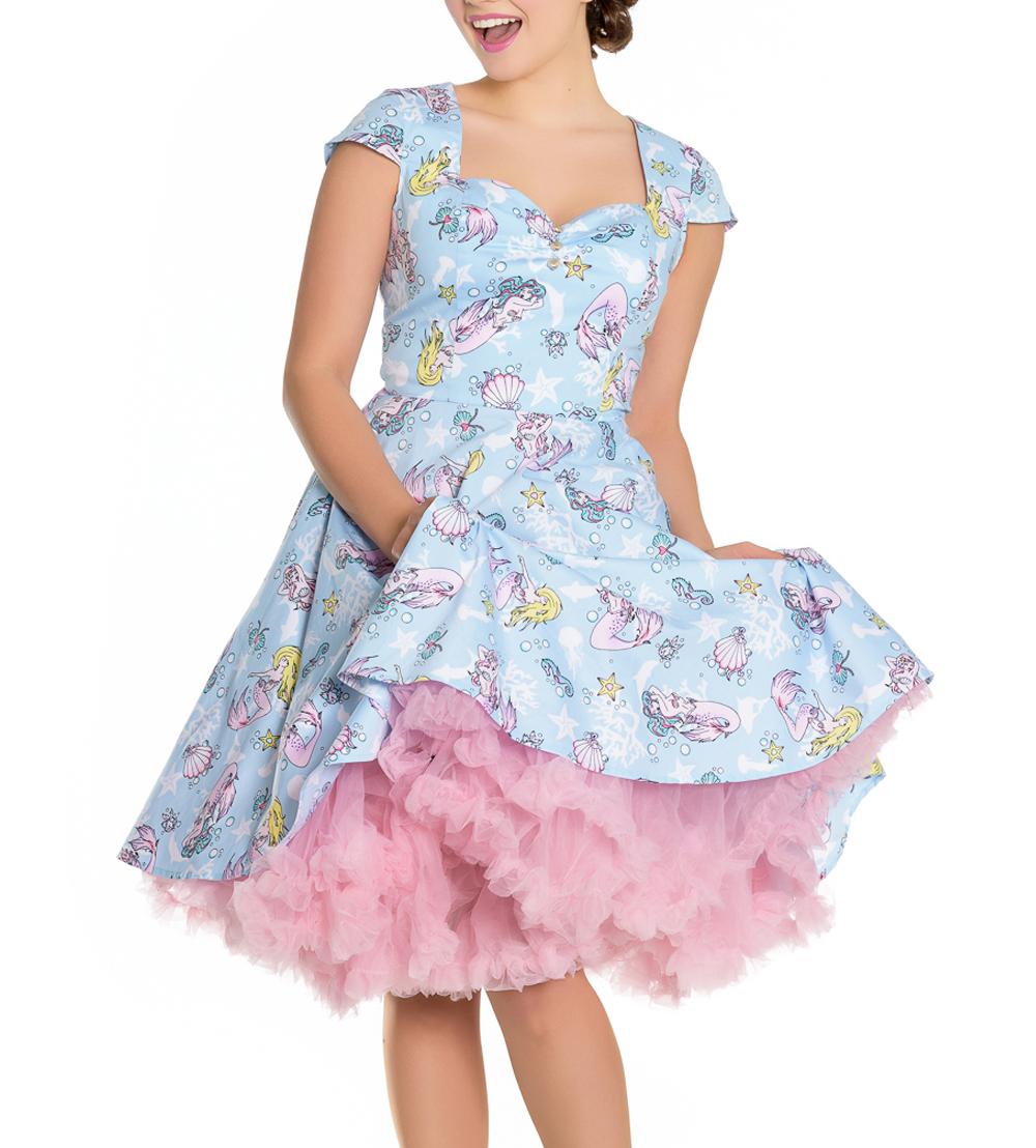 Hell-Bunny-Pin-Up-Blue-Mid-Length-50s-Dress-CORALIA-Andrina-Mermaid-All-Sizes thumbnail 7