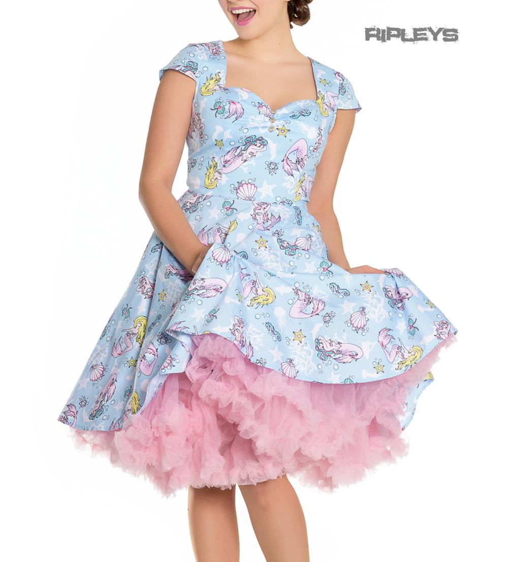 Hell-Bunny-Pin-Up-Blue-Mid-Length-50s-Dress-CORALIA-Andrina-Mermaid-All-Sizes thumbnail 6