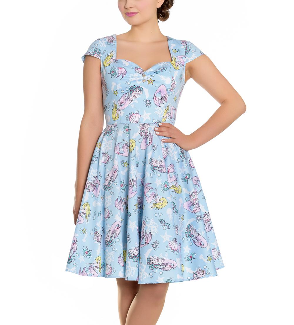 Hell-Bunny-Pin-Up-Blue-Mid-Length-50s-Dress-CORALIA-Andrina-Mermaid-All-Sizes thumbnail 15