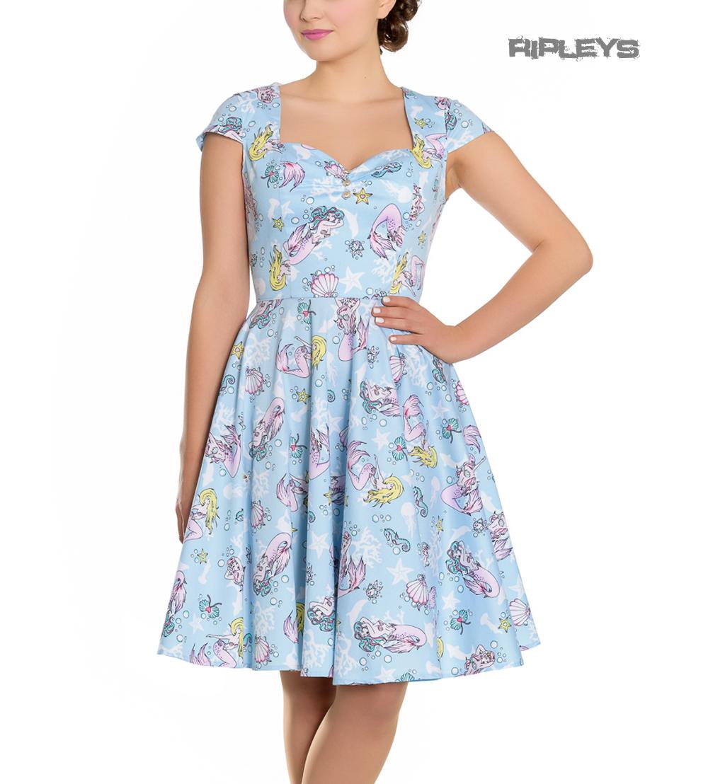 Hell-Bunny-Pin-Up-Blue-Mid-Length-50s-Dress-CORALIA-Andrina-Mermaid-All-Sizes thumbnail 14