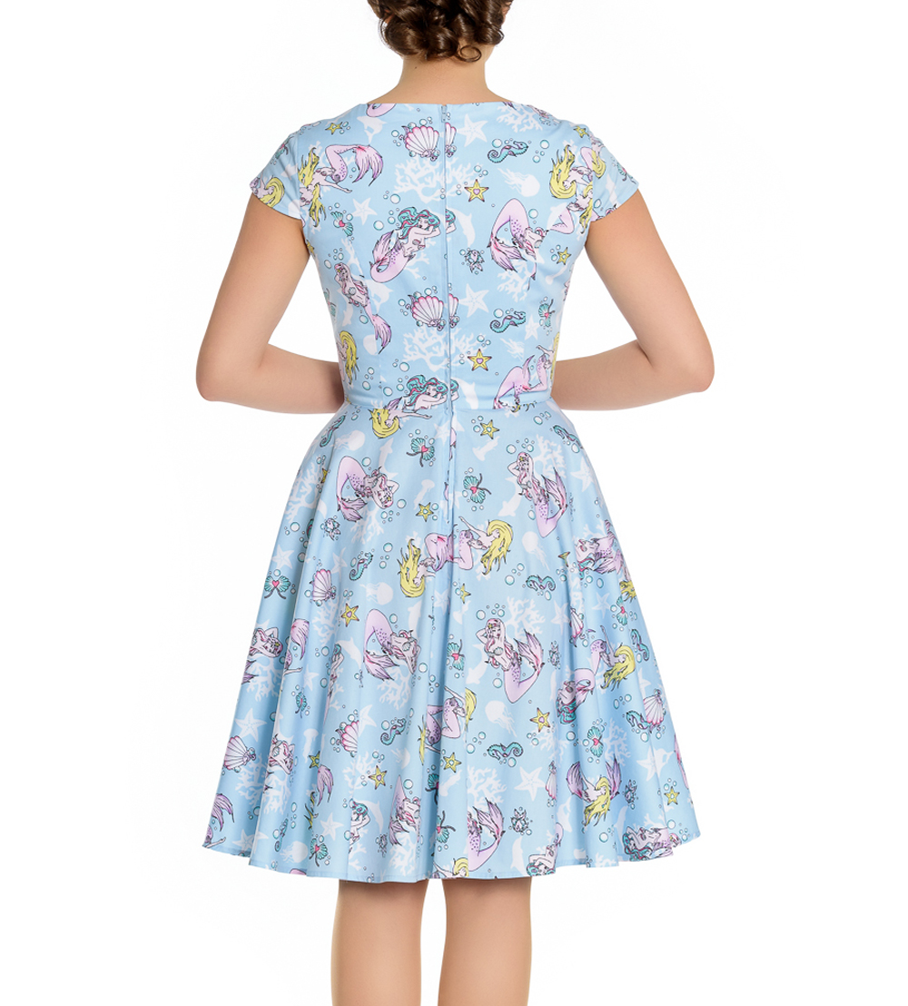 Hell-Bunny-Pin-Up-Blue-Mid-Length-50s-Dress-CORALIA-Andrina-Mermaid-All-Sizes thumbnail 41