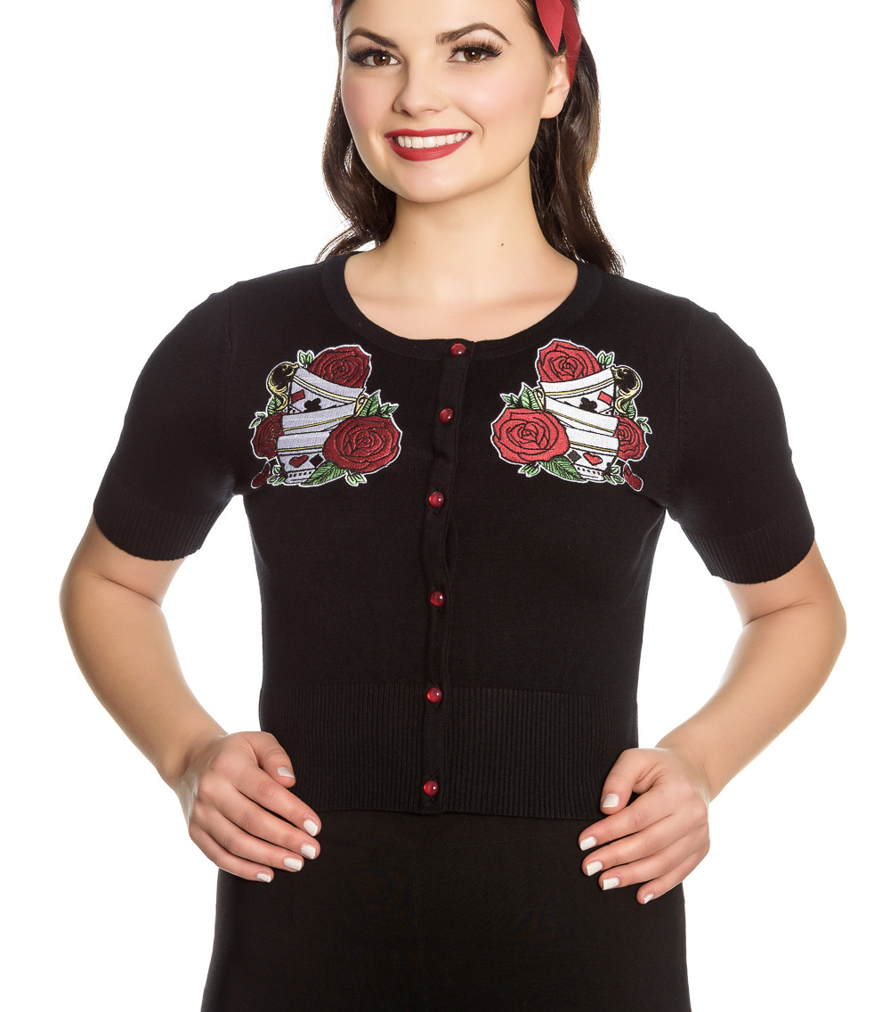 Hell-Bunny-Ladies-Rockabilly-Drink-Me-TEA-PARTY-Cardigan-Top-Roses-All-Sizes thumbnail 3