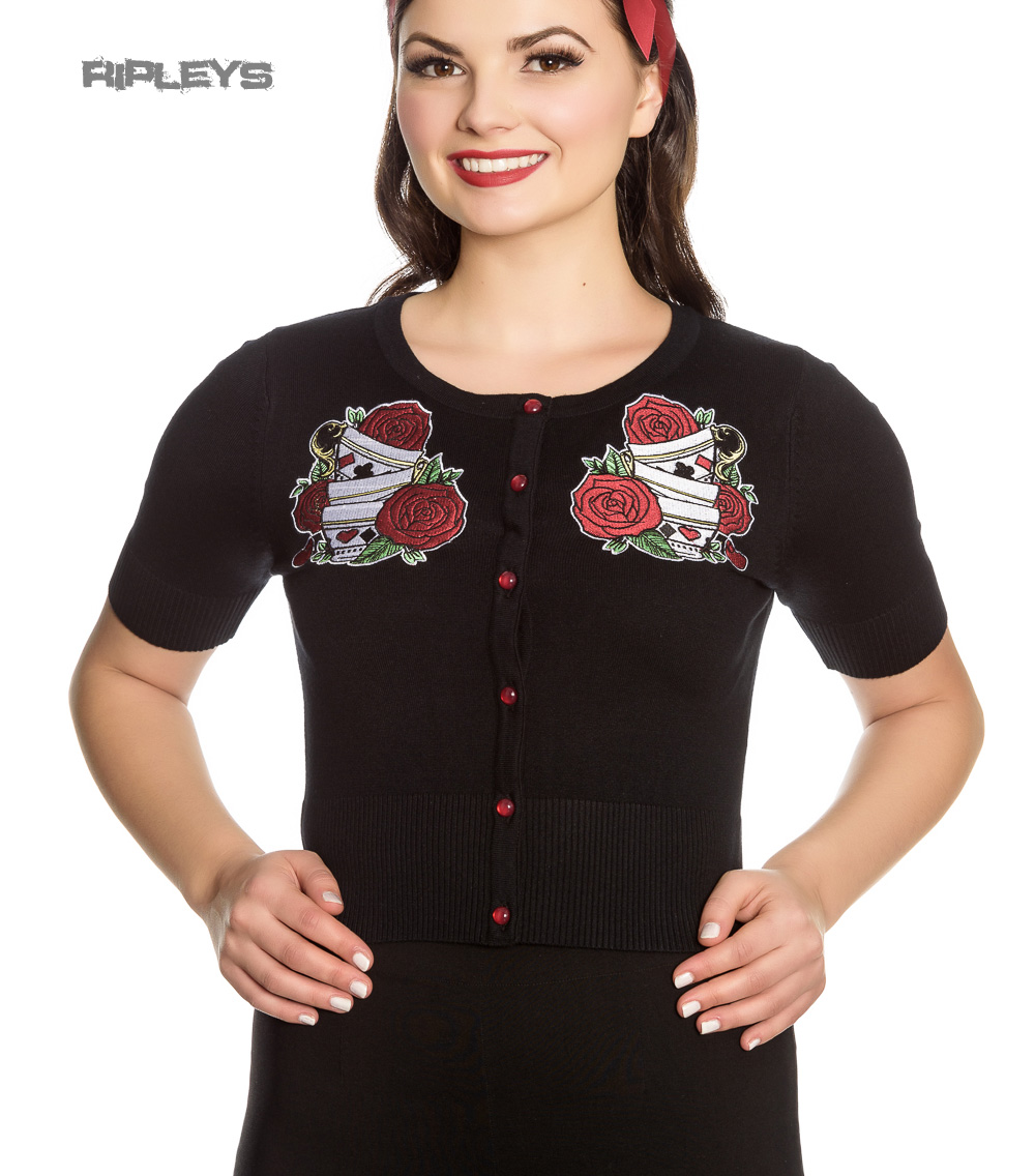 Hell-Bunny-Ladies-Rockabilly-Drink-Me-TEA-PARTY-Cardigan-Top-Roses-All-Sizes thumbnail 2