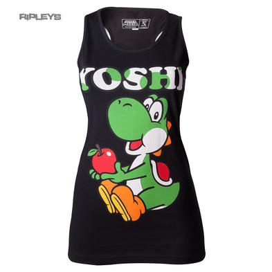 Official Skinny Black Vest Top T Shirt YOSHI Nintendo 64 FRUIT Apple All Sizes