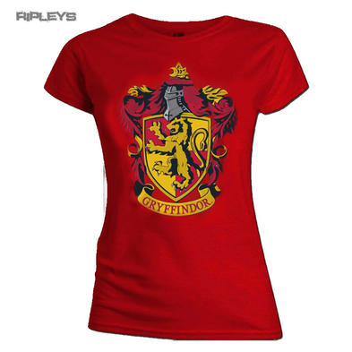 Official Skinny T Shirt Harry Potter Hogwarts GRYFFINDOR House Red All Sizes