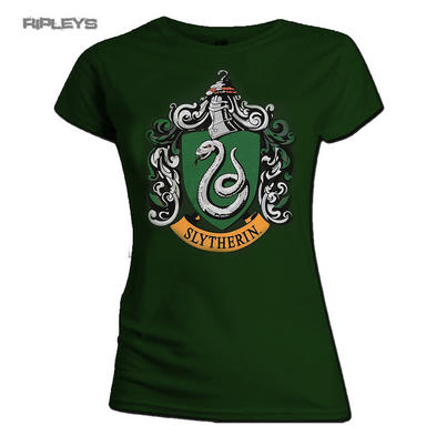 Official Skinny T Shirt Harry Potter Hogwarts SLYTHERIN House Green All Sizes