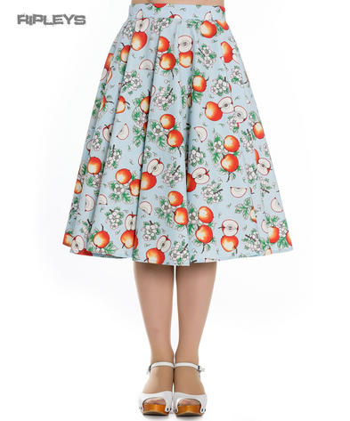 Hell Bunny Pin Up Rockabilly 50s Skirt SOMERSET Apple Blossom Blue All Sizes