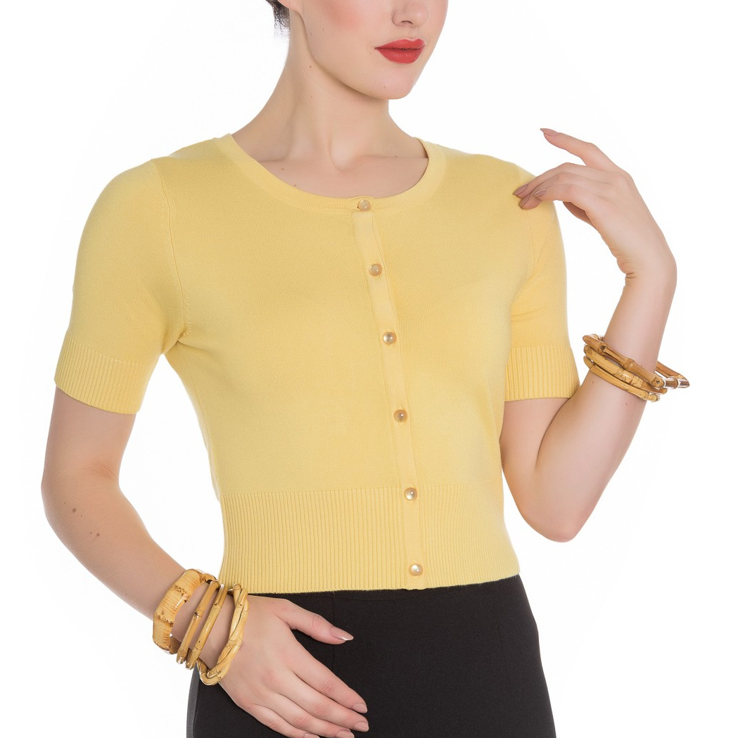 Hell-Bunny-Ladies-50s-WENDI-Plain-Short-Sleeved-Cardigan-Top-Yellow-All-Sizes