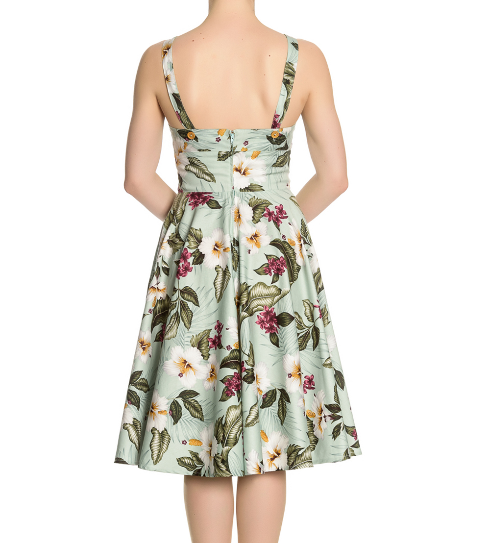 Hell-Bunny-Vintage-50s-Pin-Up-Dress-TAHITI-Tropical-Flowers-Green-All-Sizes thumbnail 7