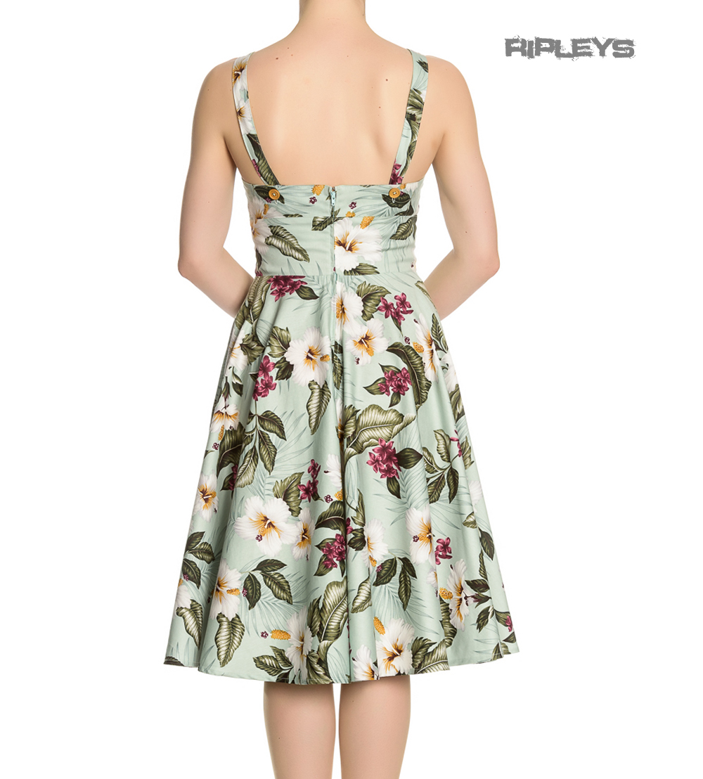 Hell-Bunny-Vintage-50s-Pin-Up-Dress-TAHITI-Tropical-Flowers-Green-All-Sizes thumbnail 6