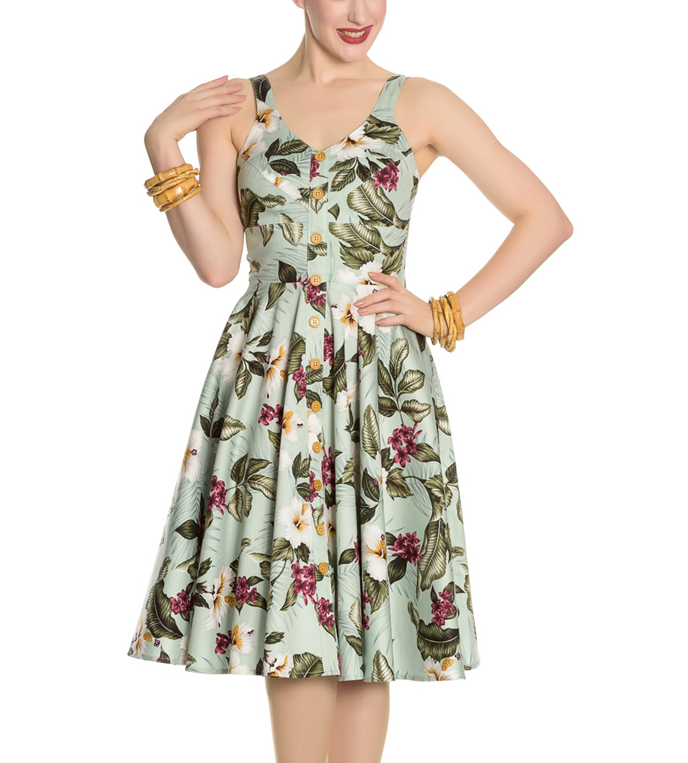 Hell-Bunny-Vintage-50s-Pin-Up-Dress-TAHITI-Tropical-Flowers-Green-All-Sizes thumbnail 5