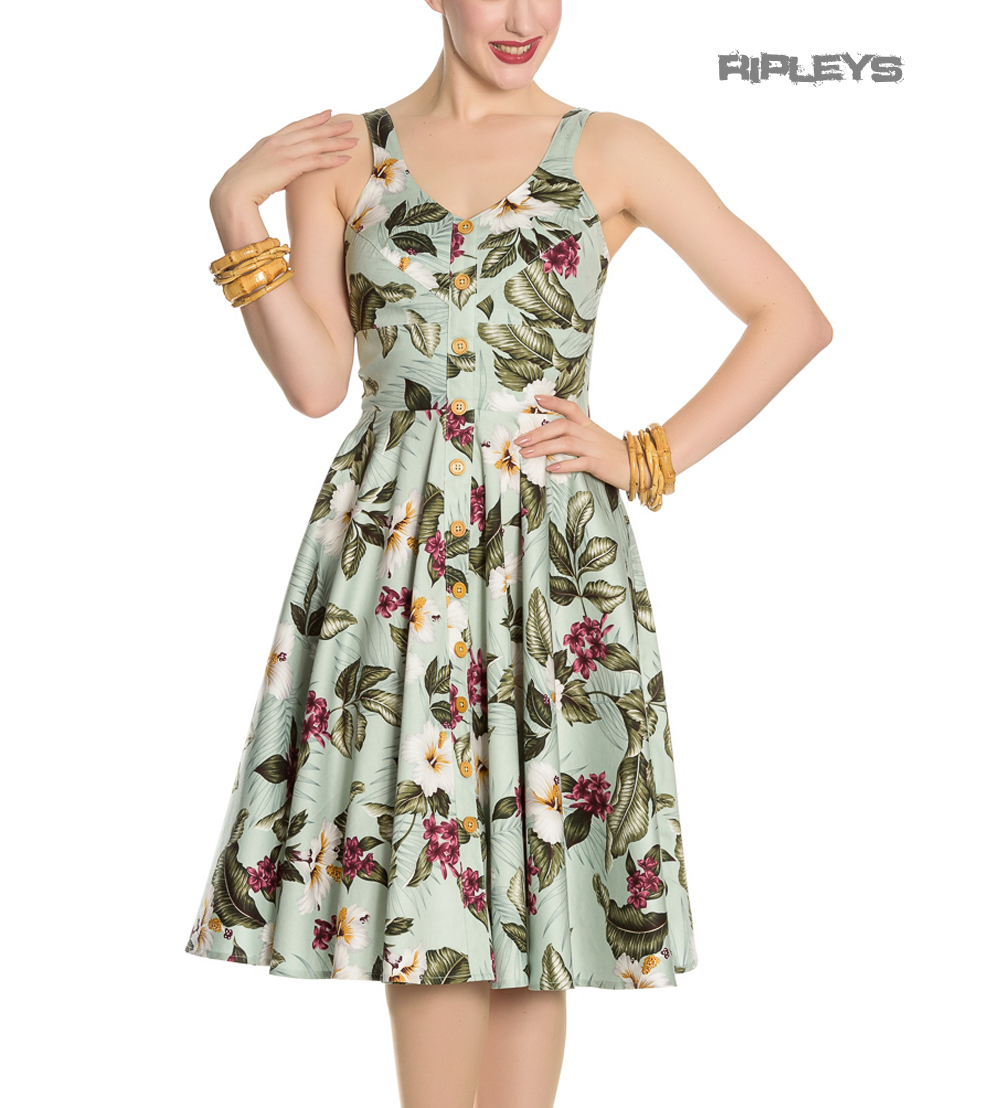 Hell-Bunny-Vintage-50s-Pin-Up-Dress-TAHITI-Tropical-Flowers-Green-All-Sizes thumbnail 4