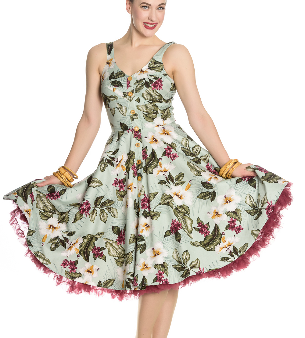 Hell-Bunny-Vintage-50s-Pin-Up-Dress-TAHITI-Tropical-Flowers-Green-All-Sizes thumbnail 9