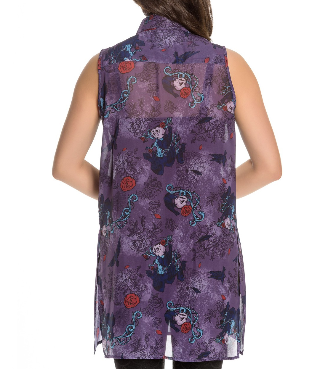 Hell-Bunny-Shirt-Top-Goth-Punk-Roses-Skulls-RAVEN-Purple-Blouse-All-Sizes thumbnail 9