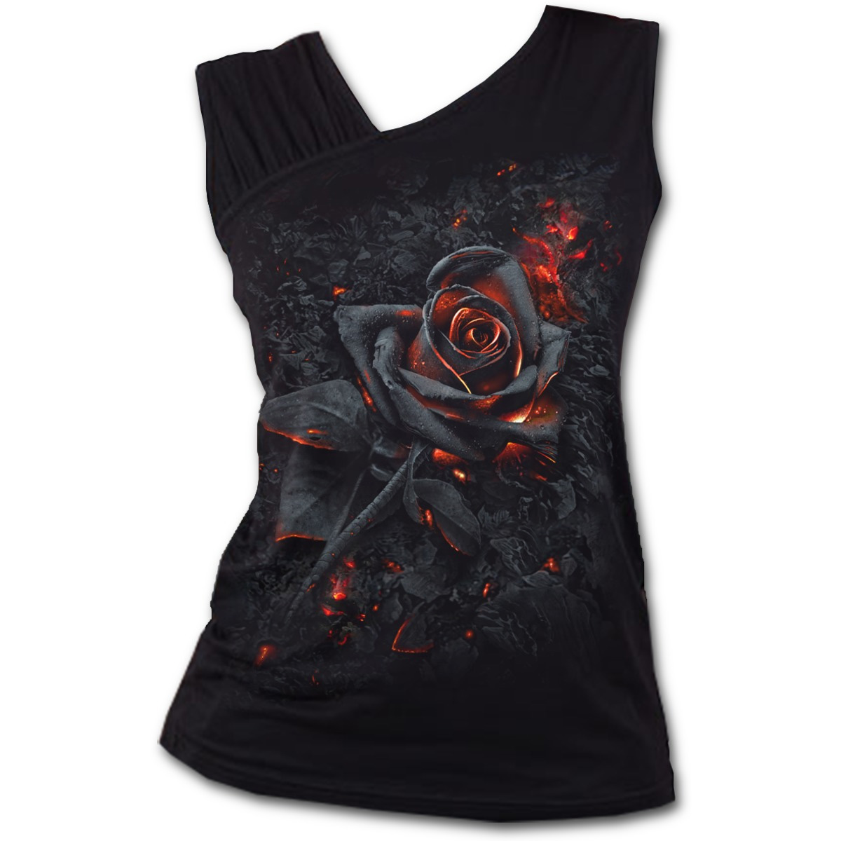 SPIRAL-DIRECT-Ladies-Black-Goth-BURNT-ROSE-Fire-Slant-Vest-Top-All-Sizes thumbnail 3