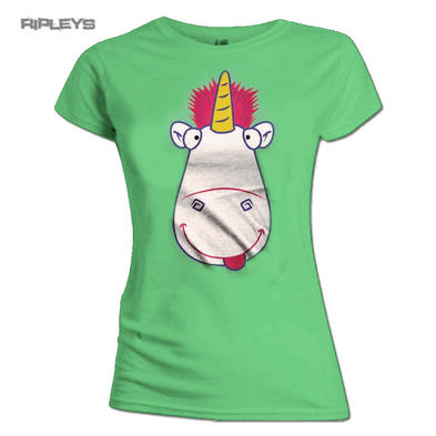 Official Skinny T Shirt DESPICABLE ME 3 Green Fluffy UNICORN Face All Sizes