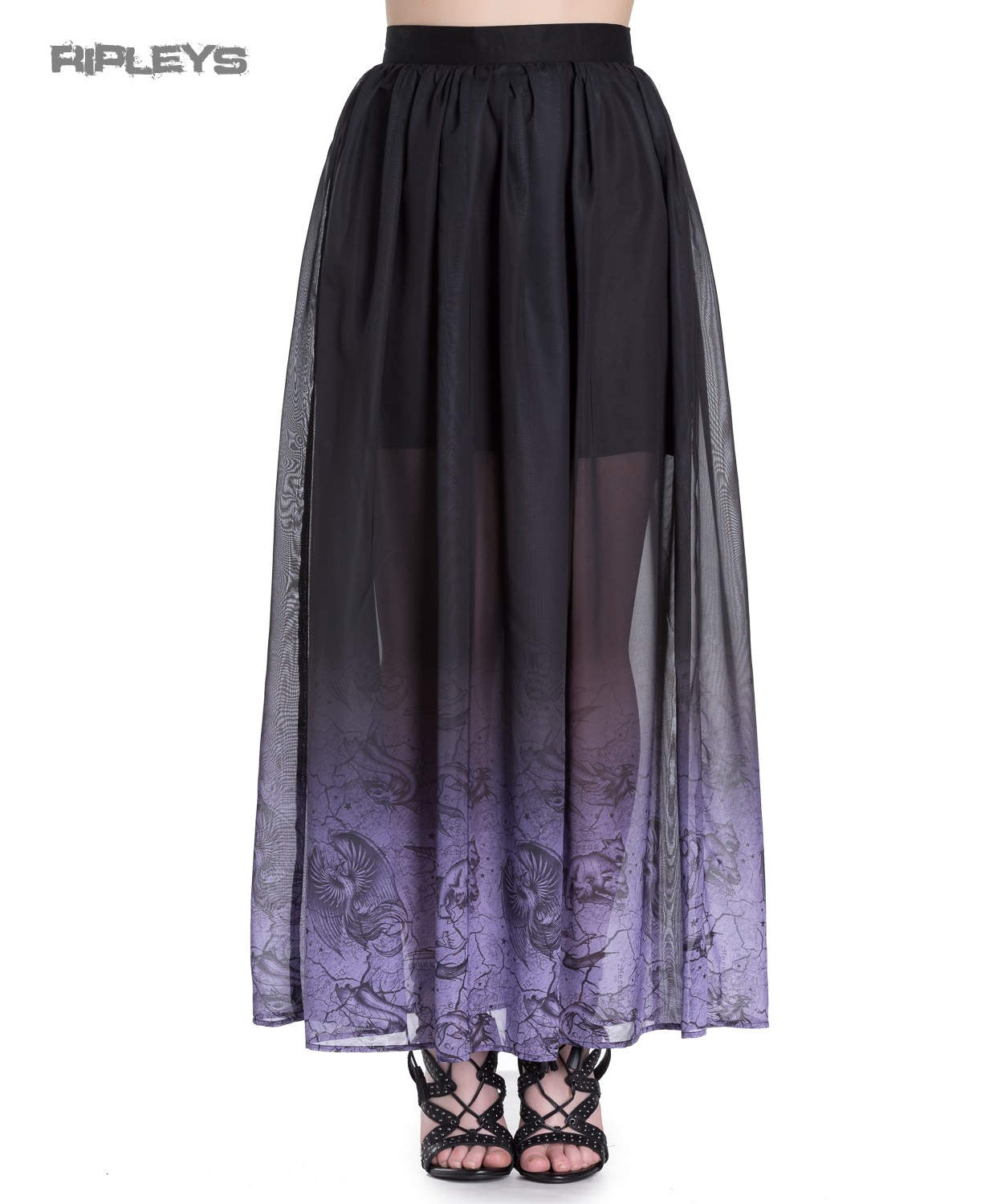 Hell-Bunny-Spin-Doctor-Goth-Purple-Mystical-EVADINE-Maxi-Skirt-All-Sizes thumbnail 14